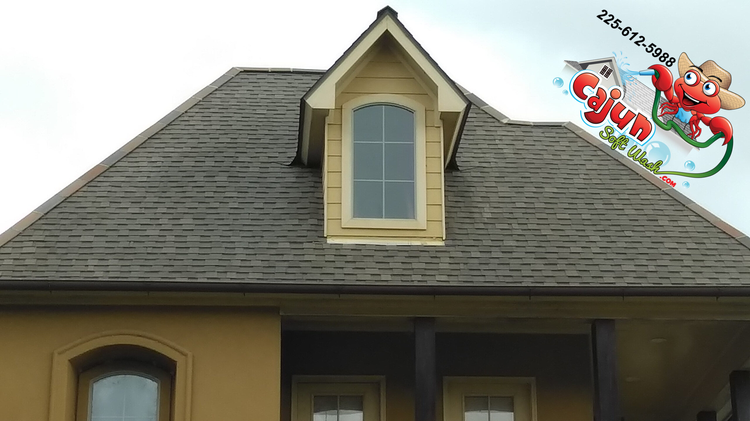 Cajun Soft Wash residential roof cleaning exterior dirt window
