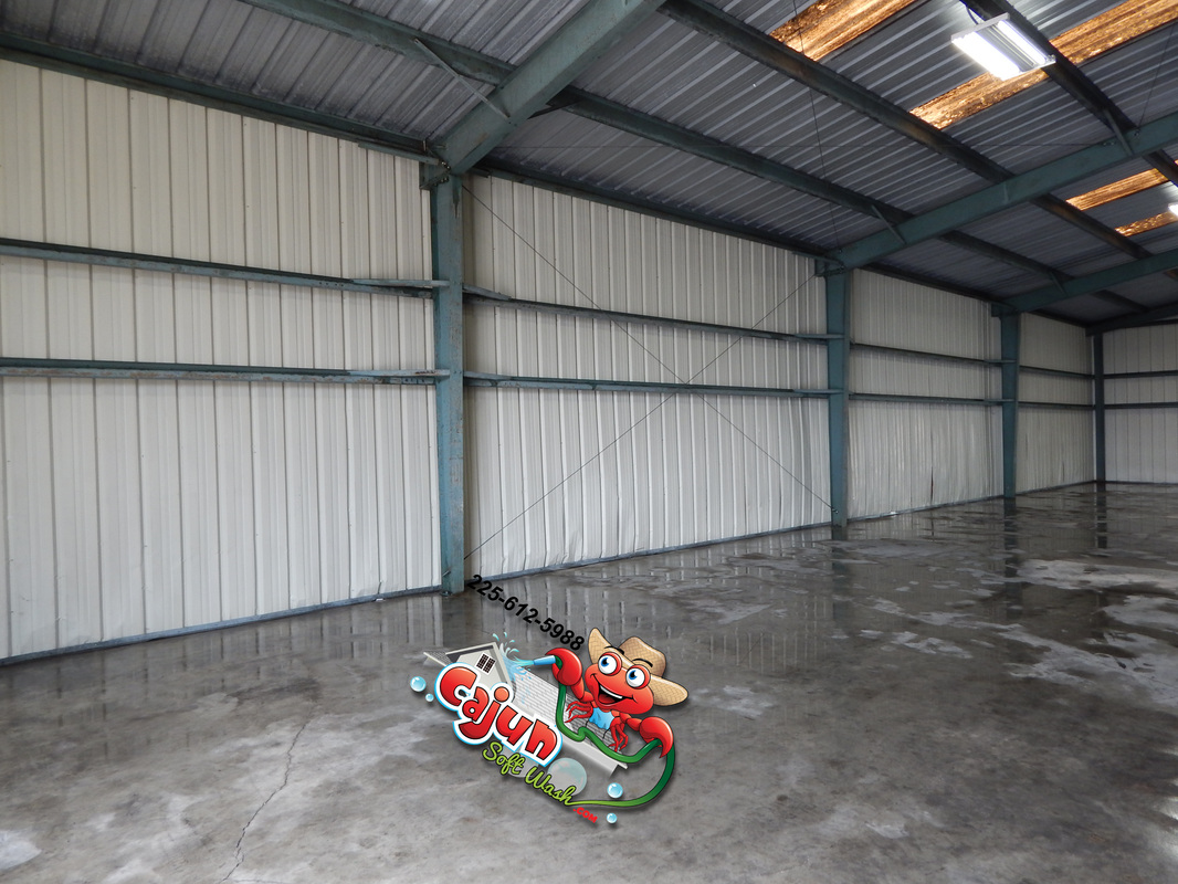 Cajun Soft Wash warehouse cleaning dirt stains